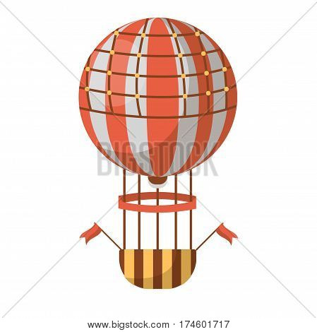 Hot air balloon isolated on white background. Consist of bag, called envelope, with heated air. Beneath is gondola or wicker basket to carry passengers and source of heat. Vector of striped aircraft