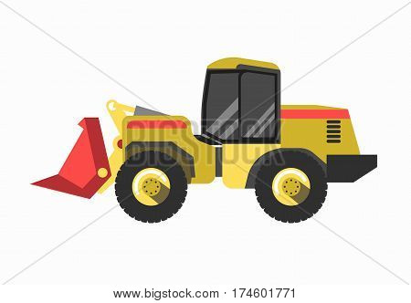 Tractor excavator modern model isolated on white background. Vector engineering vehicle designed to deliver high tractive effort or torque at slow speeds, used in agriculture or construction