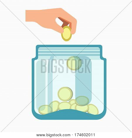 Glass jar and hand dropping coins into it isolated on white background. Charity concept, giving donations logotype design. Vector illustration of financial income into container in flat design