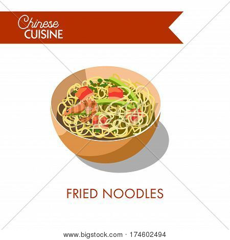 Fried noodles in bowl isolated on white background. Stir-fried dish with sea food and vegetables. Traditional chinese oriental meal. Vector illustration for restaurant menu in flat style design