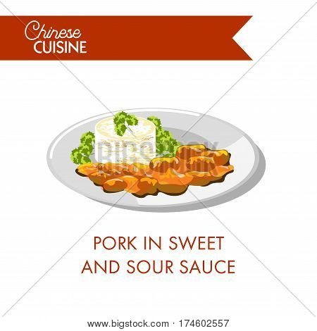 Pork in sweet and sour sauce on plate isolated on white. Made by mixing sugar or honey with rice vinegar, soy sauce with meat and spices ginger and cloves. Traditional Chinese food vector illustration