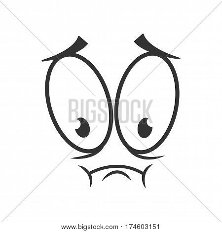 Depressed emotion icon logo design in flat style. Simple sad cartoon face in black and white colors. Upset graphic character vector illustration. Disappointed expression, unsatisfied symbol