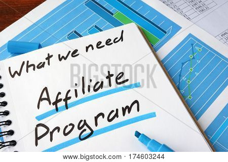Affiliate Program written in a notebook and marker.
