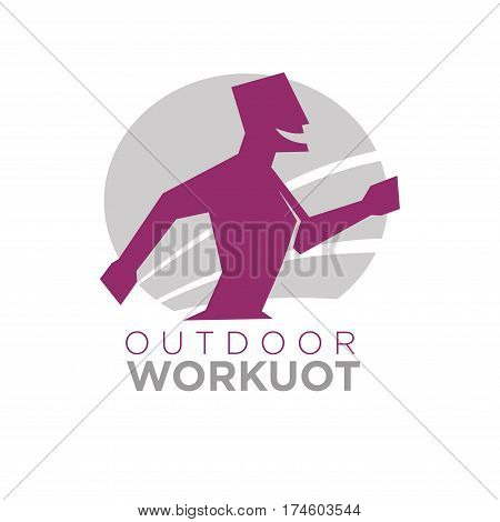 Outdoor workout logo design of man silhouette running with open mouth with sun icon on background isolated on white. Vector illustration of supportive athletic male character jogging in flat style