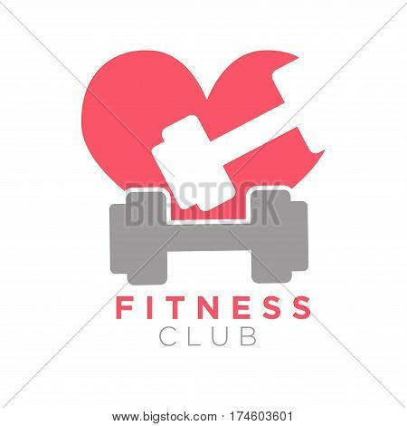 Fitness club logo design with two dumbbells on background of red heart. Vector illustration of gym center logo in flat design. Fitness symbol with barbell, be healthy body building concept