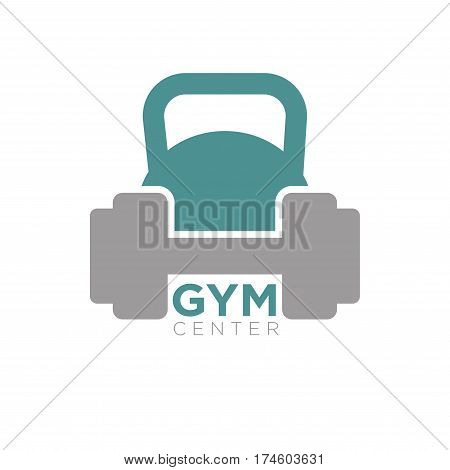 Heavy dumbbell and big kettlebell isolated on white background. Vector illustration of gym center logo in flat design. Fitness symbol with barbell, keep fit, be healthy, body building concept