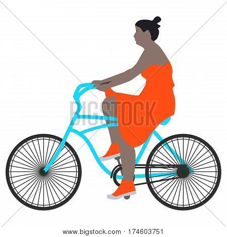 Vector illustration of a spring walk woman cyclist in a red dress and socks riding a blue bike, flat style.