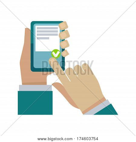 Human hand holding smart phone and choosing something vector illustration on white. Closeup colorful picture of man palm typing on mobile phone and buying or just choosing things via Internet.