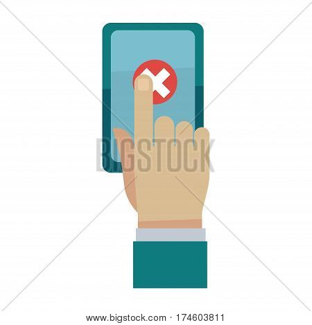Man cancel order by finger on smartphone screen isolated on white background. Vector illustration of e-commerce concept, refuse of purchase via internet on mobile phone in flat style design