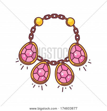 Necklace with four diamond pendants isolated on white background. Expensive chain with precious stones and golden circles. Vector illustration of fashion jewelry icon in flat style cartoon design