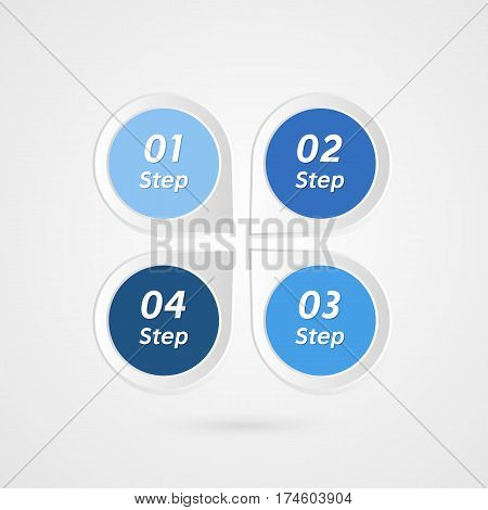 Four steps infographics vector. Isolated 1 2 3 4 number symbols background. Marketing illustration