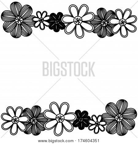 monochrome minimalistic background with flowers in row both sides vector illustration
