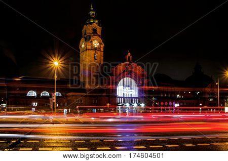 WIESBADEN GERMANY FEB 20: Evening traffic in front of the train station on FEB 20 2017 in Wiesbaden Germany.