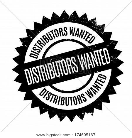 Distributors Wanted rubber stamp. Grunge design with dust scratches. Effects can be easily removed for a clean, crisp look. Color is easily changed.