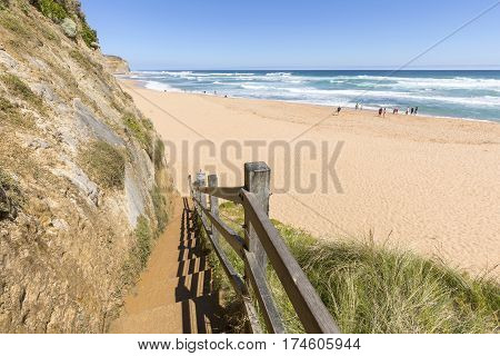 Gibson Steps and beach on the Great Ocean Road outside Port Campbell in Victoria, Australia