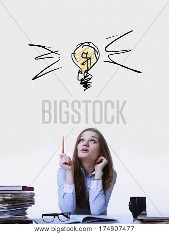 Beautiful businesslady search for solutions to problems. The concept of the looking for idea.