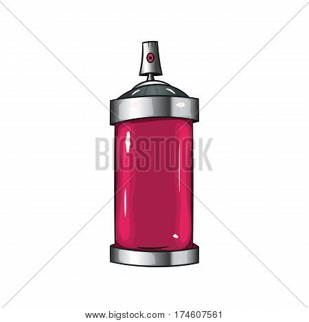 sprays with pink paint.  spray red paint