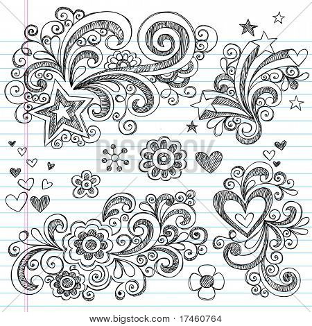 Hand-Drawn Back to School Sketchy Notebook Doodle Design Elements with Swirls, Flowers, Hearts and Stars Vector Illustration on Lined Sketchbook Paper Background