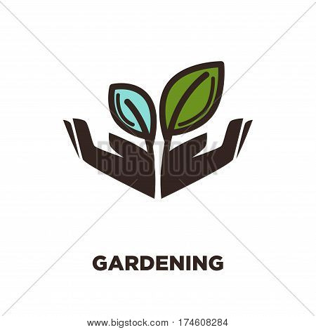Plant growing from open hands logo design. Two leaves isolated, gardening concept. Symbol of care, protection, growth and spring beauty. Vector illustration of sign with leaf, logotype in flat style