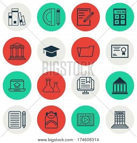 Set Of 16 Education Icons. Includes Taped Book, Graduation, Document Case And Other Symbols. Beautiful Design Elements.