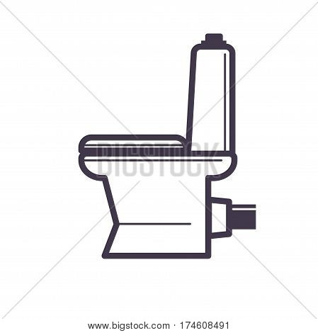 Flush toilet icon sanitation porcelain fixture symbol with white seat and bowl plumbing. Vector illustration of plumbing. Professional pixel fine icon in flat design editable for your design