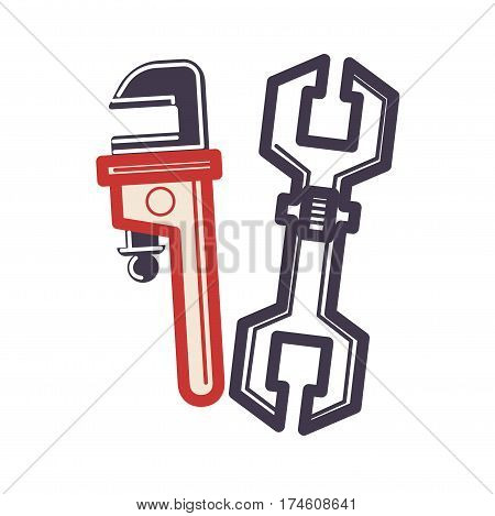 Two adjustable wrenches in cartoon style flat isolated on white. Vector illustration of monkey wrench, pipe wrench, plumber repair instrument. Figure of trend modern logo graphic design web banner.