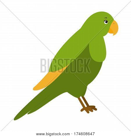 Parrot. Illustration for children. Design element for baby shower card scrapbook invitation children goods and childish accessories. Isolated on white background. Vector illustration.