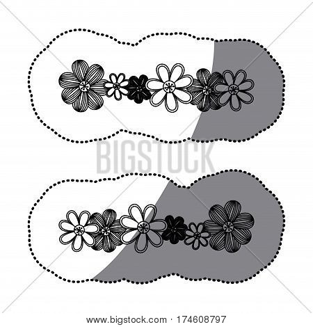 sticker monochrome minimalistic background with flowers in row both sides vector illustration