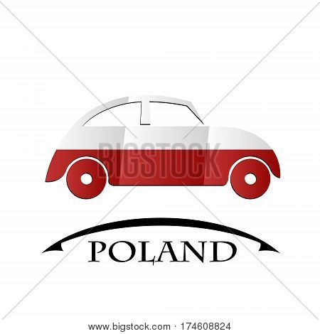 car icon made from the flag of Poland