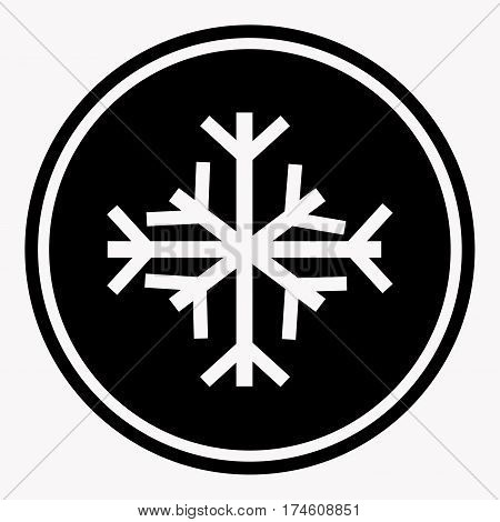 Warning and danger sign of snow attention symbol black circle on white background. Vector illustration in flat design cartoon style. Professional pixel icons optimized for large and small resolutions.