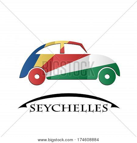 car icon made from the flag of Seychelles