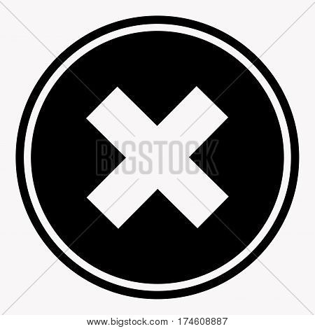 Warning and danger sign with cross attention symbol black circle on white background. Vector illustration in cartoon style graphic flat design. Drawn figure icon for infographic, website or app.