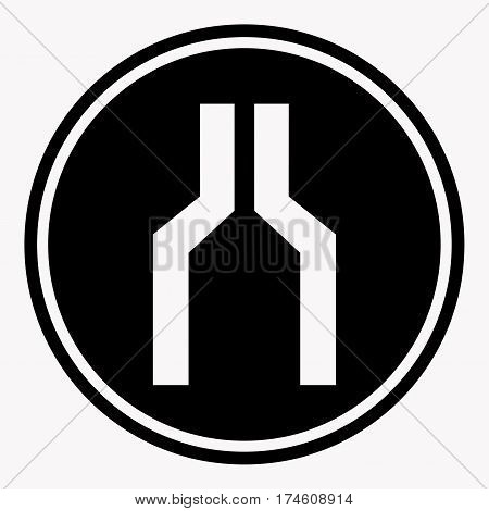Narrowing of two roads warning attention symbol black circle on white background. Vector illustration of danger sign in web design. Care icon in flat cartoon style for infographic, website or app
