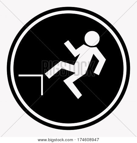 Risk of falling from height of human danger sign black circle isolated on white. Vector illustration of warning character and attention symbol. Professional, pixel perfect flat icons for web design.