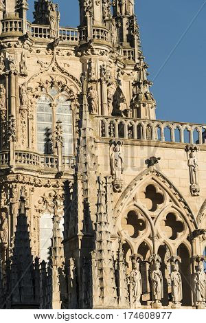 Burgos (Castilla y Leon Spain): exterior of the medieval cathedral in gothic style at evening