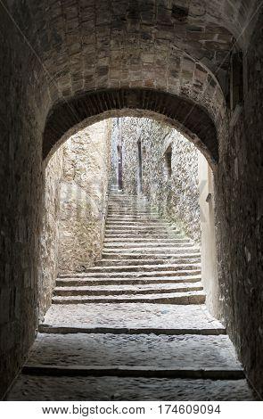 Girona (Gerona Catalunya Spain): old typical street