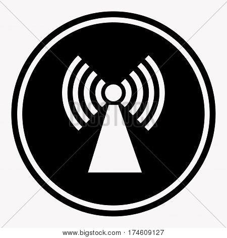 Caution colorless warning logo symbol isolated on white. Vector illustration in flat design of black circle with white sign of radiation inside. Danger attention icon radiation sign isolated