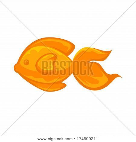 Goldfish animal sign in flat design isolated on white. Close up vector illustration with yellow swimming animal symbol of dreams coming true. Marine inhabitant sign in golden color isolated.