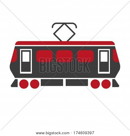 Railway carriage electric train in black and red colors isolated on white. Railroad transport item for carrying passengers, express transportation symbol vector illustration in flat style design