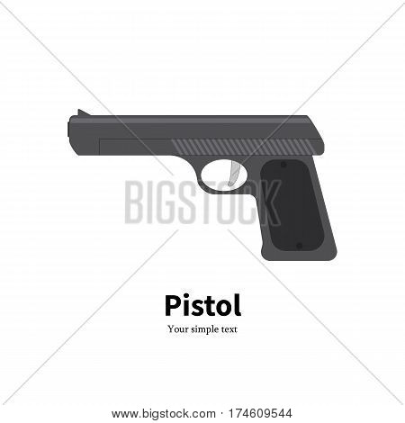 Vector illustration of a black gun icon on the isolated white background. Pistol side view. Flat style.