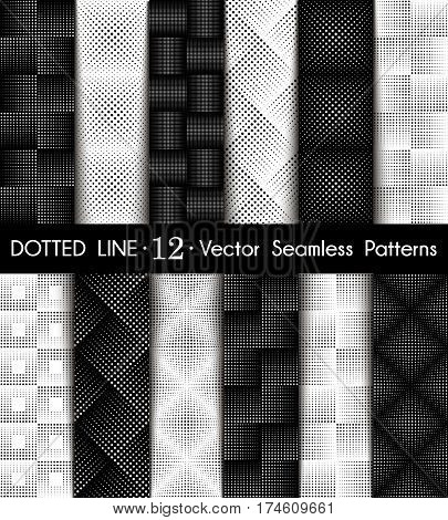 Set Dotted Line Geometric Seamless Pattern. Repeating Dotted Lines. Dots of the Different Size. Monochrome. Vector Backdrop for Your Design. Texture Pattern Swatches Included in File.