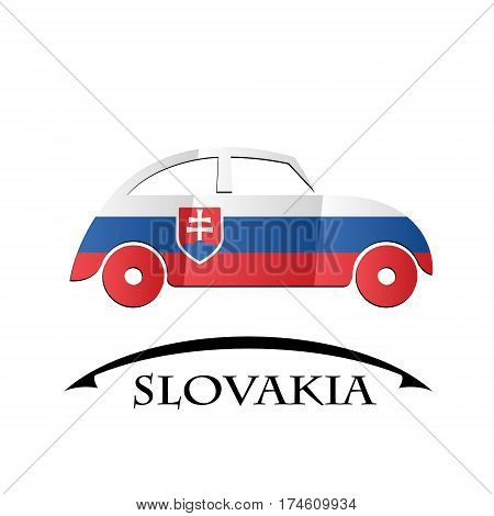 car icon made from the flag of Slovakia