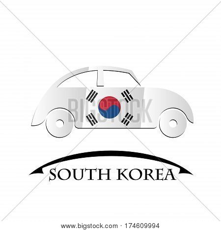 car icon made from the flag of South Korea