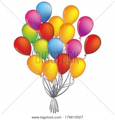 Colorful Bunch of Birthday Balloons Flying for Party vector illustration