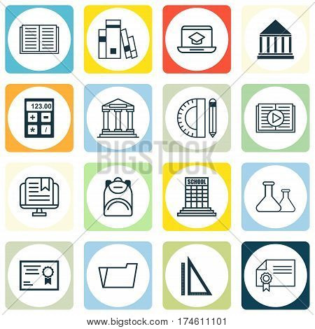 Set Of 16 Education Icons. Includes Document Case, Diploma, Education Center And Other Symbols. Beautiful Design Elements.