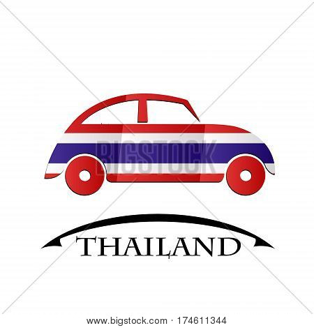 car icon made from the flag of Thailand