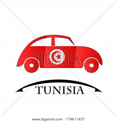 car icon made from the flag of Tunisia
