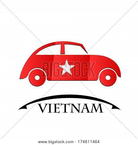 car icon made from the flag of Vietnam