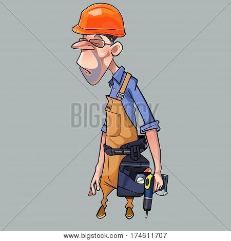 cartoon sad man in helmet and working clothes with tools