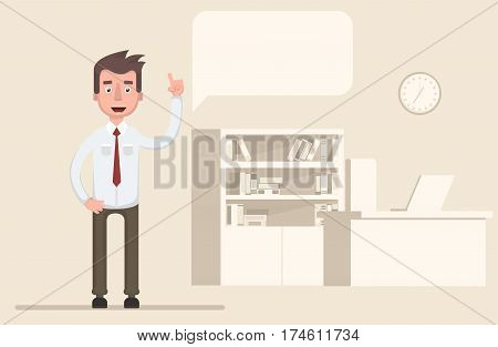 The businessman raised his hand up and gives advice. Vector illustration in a flat style.